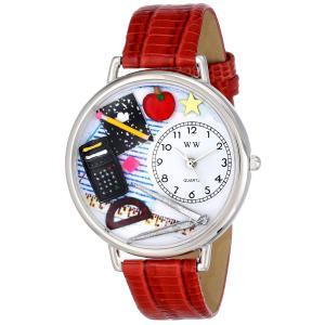 数学の先生 赤レザー ゴールドフレーム時計 #G0640007|soranoshouten
