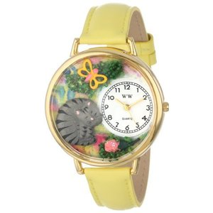お昼寝猫ちゃん 黄色レザー ゴールドフレーム 腕時計#G0120013|soranoshouten