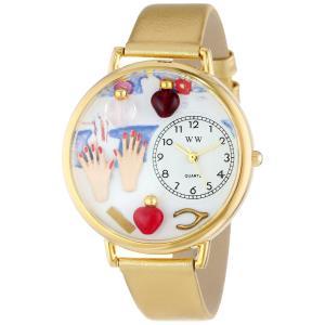 ネイリスト シルバーレザー ゴールドフレーム時計#G0630005|soranoshouten