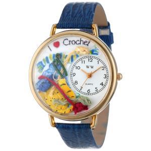 刺繍 紺レザー ゴールドフレーム 時計 #G0450011|soranoshouten