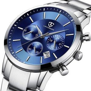 腕時計 メンズ腕時計 ファッション カジュアル ビジネス 多機能 クロノグラフ ステンレス鋼 防水 日付表示 ブルー シルバー アナログ クォーツ時計|soranoshouten