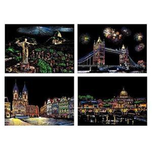 スクラッチアート 4枚入 削るだけで美しいアート 塗り絵 スクラッチペーパー ペーパーアート 世界の夜景 21cm×29.5cm (A4サイズ 4枚 都市) soranoshouten