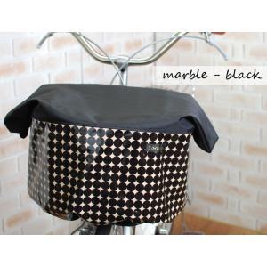 エクストラワイドサイズ:ブラック×マーブル柄バスケットカバー(自転車前カゴカバー)|sorayu