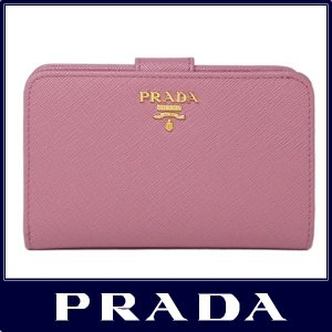 PRADA プラダ 二つ折り 財布 サフィアーノ ピンク 1...