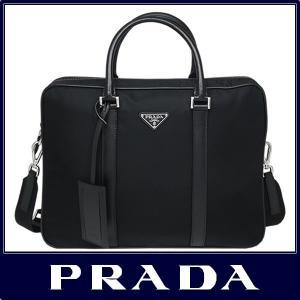 e20967d56b83 PRADA プラダ ブリーフケース ビジネス バッグ A4対応 ナイロン/サフィアーノ ブラック 2VE871 064 F0002 V ...