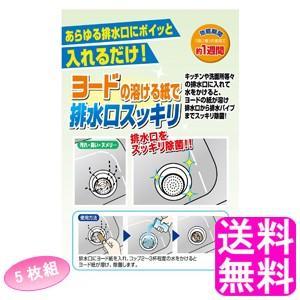 送料無料 700円 ポイント消化 ヨードの溶ける紙で排水口スッキリ 5枚組|soryomuryotekisyoten