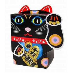 【粗品 記念品】BOX招き猫 黒(魔よけ)40W  安価/まとめ売りに!|soshina