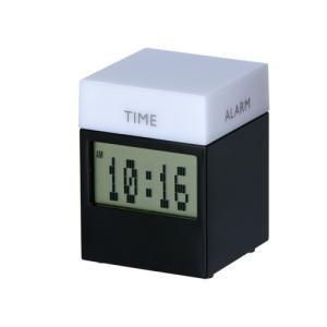 販促品/記念品/ギフト向けキューブ型4ファンクションクロック(黒) (購入単位:5個〜)見積もり/周年記念/まとめ売りに!|soshina
