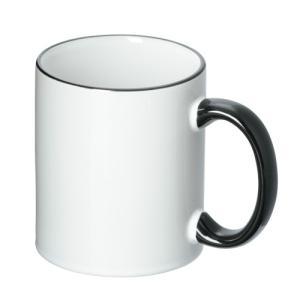 ノベルティ 記念品 フルカラー転写用マグカップ(ブラックハンドル/350ml)(白)  記念品/ノベルティ|soshina