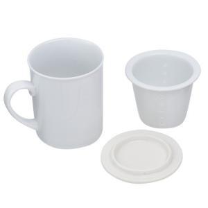 ノベルティ 記念品 ハーブティーマグ(ティーストレイナー付)(300ml)  名入れ陶器/オリジナル印刷|soshina