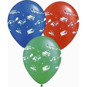 おまけ/販促品/ノベルティ向け10インチ(25cm)くるま柄バルーン7色AST(50入) (購入単位:1個〜) 安価/安い/まとめ買いに!|soshina