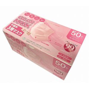 ノベルティ 記念品 カラー不織布3層マスク 50枚箱入 ピンク  オリジナルまとめ買い/卸売り soshina