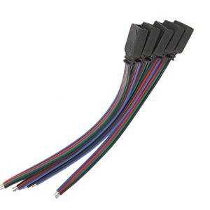 uxcell 5個セット RGB LED ライトストリップ 4ピン メス コネクター ケーブル LED テープライト 4ピンのメス側接続ケーブル soten2