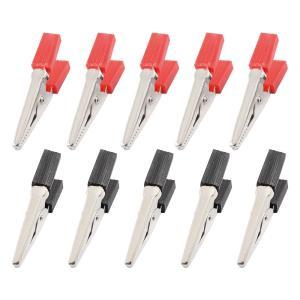 uxcell ワニ口クリップ 50mm ブラック レッド 絶縁 テストプローブ 14個入り|soten2