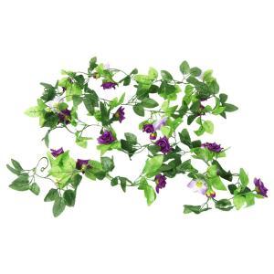 uxcell 造花 人工フラワー フクシアローズ 緑の葉 2.5m長さ ファブリック ハンギング 花束|soten2