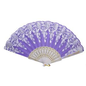 uxcell うちわ グリター花 葉 パターン ホワイト プラスチック製フレーム 紫色 折り畳み式|soten2