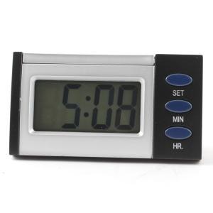 uxcell LCD 車 デジタル時計 車 ホーム 3ボタン 時 秒 シルバートーン ブラック soten2