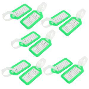 uxcell ネームタグ 荷物タグ 旅行 荷物タグ スーツケースバッグ 名前ラベル 長方形のデザイン グリーン ホワイト プラスチック 10個|soten2