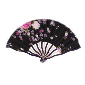 uxcell うちわ シャクヤクプリント ブラック ファブリック 布 紫色 木製フレーム 折り畳み式|soten2