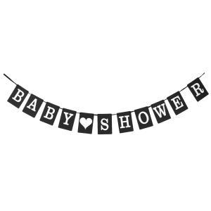 uxcell バナーカード バナーホオジロ BABY SHOWER 会場パーティーの装飾 ガーランド写真プロップ ブラック|soten2