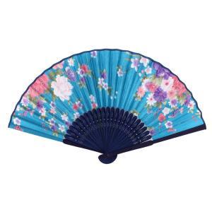 uxcell 折り畳み式扇子 踊り扇子 竹生産 アウト中空フレーム ブルー|soten2