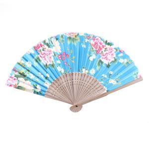 uxcell 折るファン ハンドファン 扇子 竹製ブリムハンドル 花プリント ポータブル|soten2