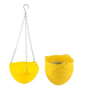 uxcell 植木鉢 植物プランターバスケット イエロー プラスチック製のハンギング 6個|soten2