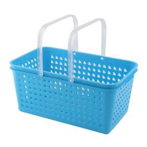 uxcell 衣類 ランドリー 家庭用 プラスチック 文房具 メイク ツール 化粧品 ストレージ 整理 バスケット ボックス ブルー|soten2