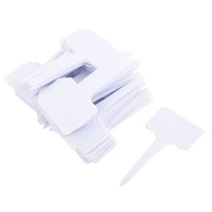 uxcell ラベルマーカーサイン アウトドア ガーデン プラスチック T 形 プラント シード タグ マーカー サイン ホワイト 100個入り|soten2