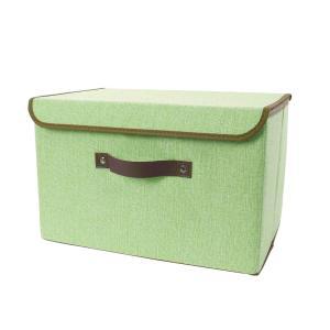 uxcell リネン生地折りたたみ式収納棚 蓋とフォックスレザーハンドル付き 収納玩具ボックス服用 スクローゼットベッドルームグリーン スモール|soten2