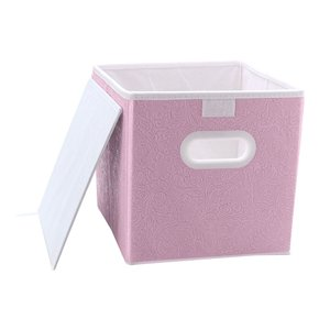 uxcell 折りたたみ式ファブリック収納箱2つのプラスチック製ハンドル 折り畳み式ファブリック引き出しオーガナイザー収納ボックス|soten2