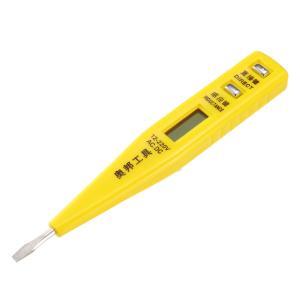 uxcell 検電器 ペン型検電器 テスター 検電ドライバー AC / DC 12-220V デジタル 電気 電圧テスター イエローシェルクリップ soten2