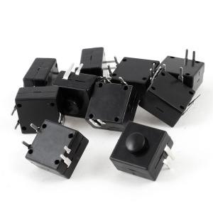 uxcell 押しボタンスイッチ トーチプッシュボタンスイッチ 電気トーチ 4ピン ラッチ ブラック 正方形 10個|soten