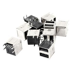 uxcell USBジャック ジャックコネクタ ソケット デュアル USB 2.0タイプAメス 90度 PCB 8ピン 10個|soten