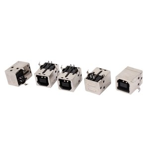 uxcell コネクタキット USB-Bコネクタソケット 直角PCBソケット 5個入りパソコン アクセサリー ブラック Bタイプ 4ピン 90度 16.6x15x12.1mm|soten