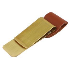 uxcell マネークリップ 鉛筆ループクリップ 真鍮と合成皮革材料製 ブラッシュ マネーループクリップ|soten