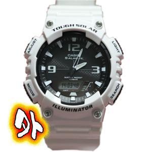 カシオ  アナログデジタル 白い 腕時計  タフソーラ AQ-S810WC-7AJF
