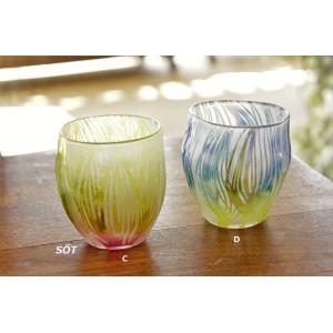 吹きガラス グラス コップ サンドブラスト C,D 中野由紀子 作家|sotsot