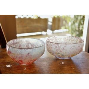 吹きガラス ボウル 鉢 デザートカップ サンドブラスト 2種類 中野由紀子 作家|sotsot