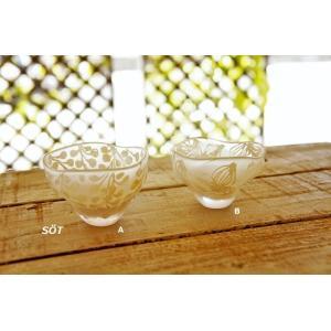 吹きガラス ボウル 小サイズ 豆鉢 サンドブラスト 白 2種類 中野由紀子 作家|sotsot