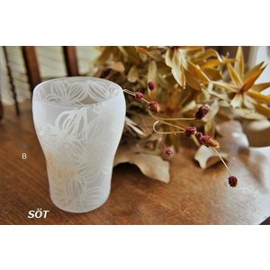 吹きガラス グラス サンドブラスト 白 A,B 中野由紀子作|sotsot