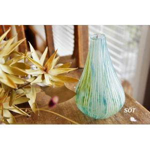 吹きガラス 花瓶 花入れ 花器 フラワーベース 中野由紀子作|sotsot