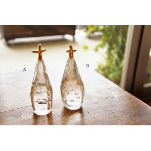 吹きガラス オブジェ ペーパーウェイト チャーチ ゴールド 中野由紀子作|sotsot