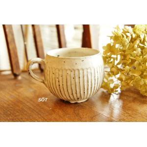 陶器 マグカップ 丸 しのぎ 白 薮本寛之作|sotsot
