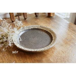 陶器 5寸プレート デザート皿 白黒 しのぎ 薮本寛之作|sotsot