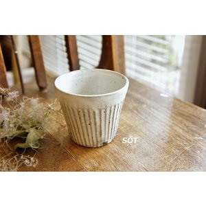陶器 フリーカップ シノギ 白 薮本寛之作|sotsot