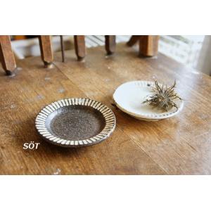 陶器 リム皿 3寸サイズ 豆皿 シノギ 2色 薮本寛之作|sotsot