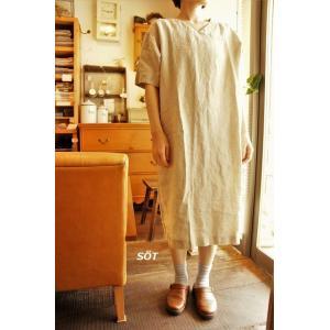5分袖ワンピース フレンチリネン Vネック 02ベージュ seasew.シーソー 1014308 日本製|sotsot