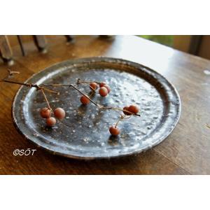 陶器 デザート皿 リム皿6寸 プレート 直径18cm 黒 中西申幸作