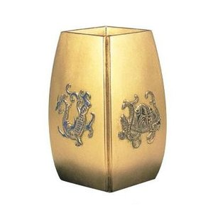 高岡銅器 合金製花瓶 四神獣 金色 風水花瓶 107-06 日本製 植物 おしゃれ
